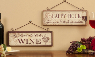 Giftcrafts Set of Two Wine Themed Wall Signs