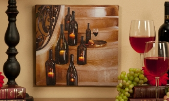 Lighted LED Wine Bottle Streched Canvas Art Work