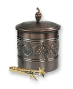 "Antique Embossed ""Heritage"" Ice Bucket with Brass Tongs"