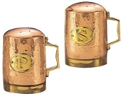Copper Hammered Stovetop Salt  Pepper Set