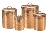 Set 4 Decor Copper Hammered Canisters