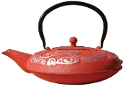 Cast Iron Nara Teapot, 40-Ounce, Red/Silver