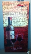 "15X31"" Wood / Canvas Wine & Cups Wall Decor"