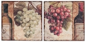 Grapes and Wine Canvas Wall Decor Set of 2