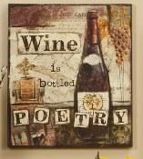 GiftCraft MDF w/ Canvas Wall Plaque - Wine is like Poetry