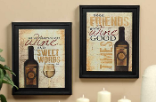 GiftCraft Wine Print - Set of Two