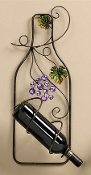 Metal Wall Bottle Holder W/ Purple Grapes