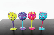 Hand Painted Patterned Large Wine Glasses