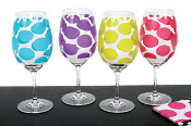 Set of 4 Pattern Wine Glasses