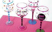 Hand Painted Happy Birthday Wine Glass