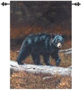 Bear on Log Oil Painting Wall-Hang