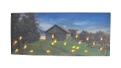 Country Farm at Dusk Flickering LED Lightning Bugs Wall Hanging