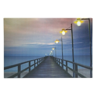 "LED lit wall canvas ""Dock with Lamps"""