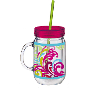 Floral Flow Double Walled Mason Jar