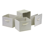 Capri Set of 4 Foldable Beige Fabric Baskets