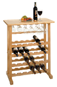 24-Bottle Wine Rack with Glass Rack