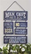 Chalk Talk Multi-Tile Wall Plaque, Man Cave Rules