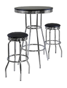 Summit 3pc Pub Table Set, includes 2 Swivel Stool