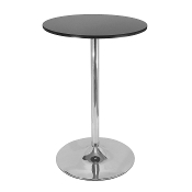"Spectrum Pub Table, 28"" Round Black with Chrome Leg"