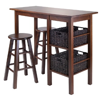 "Egan 5pc Table with 2 - 24"" Square Legs Stools and 2 Baskets"