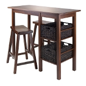 "Egan 5pc Table with 2 - 24"" Saddle Seat Stools and 2 Baskets"