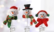 Fabric Snowman Wine Bottle Ornaments, Set of 3