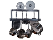 Rogar Offset Double Wall Mounted Pot Rack in Hammered Steel