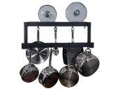 Rogar Offset Double Wall Mounted Pot Rack in Black