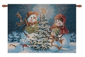 Snow Family Fiber Optic Lighted Wallhanging