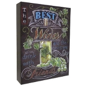 "12 Inch ""The Best Wines"" Design MDF Chalk Style Canvas Wall Art"