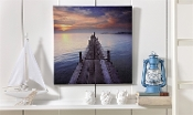 Giftcraft Stretched Canvas Print, Weathered Dock at Sunset