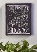Giftcraft One Positive Thought Canvas Stretched Print Chalkboard