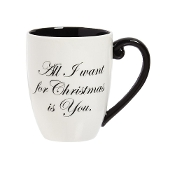 Ceramic All I Want for Christmas Black Ink Cup O'Joe, 18 ounces