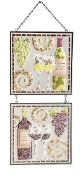 Elegant Wine Mosaic Glass Hand-Painted Panels with Chains