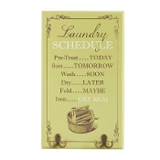 Laundry Schedule Wall Plaque with Hooks