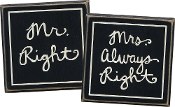 Box Sign Set of 2, 4.25-Inch by 4-Inch, Mr & Mrs Right