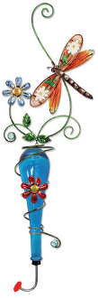 Colored Glass and Metal Hanging Hummingbird Feeder, Dragonfly