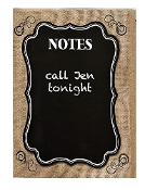Decorative Chalkboard with Burlap, Swirls and Scroll Edges - Pre