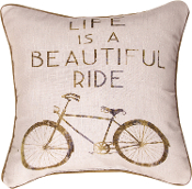 "MWW Manual Throw Pillow, 18"", Life is a Beautiful Ride"