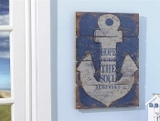 Nautical Boat Anchor Plaque with Bible Verse Quote