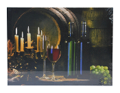 LED Lighted Wine Country Candle Scene Canvas Wall Print