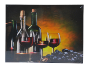LED Lighted Wine Barrel Candle Scene Canvas Wall Print