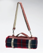 Spark Fleece Blanket Tote w/ Water Proof Backing: Red Tartan