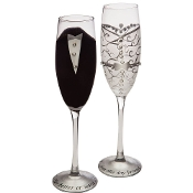 Set of 2 Bride & Groom Champagne Toasting Flute Glasses