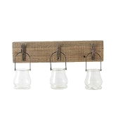 18 Inch Wall Hanger With 3 Glass Bottle Candle Holders