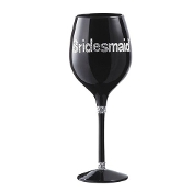 Bridesmaid Black Wine Glass By Ganz