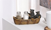 Black Bears in a Rowboat Novelty Salt and Pepper Shaker Set