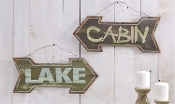 Directional Arrow Wall Signs, Lake and Cabin, Choice of Two