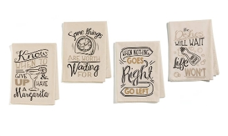 Giftcraft Note To Self Cotton Novelty Kitchen Towels, Set of 4
