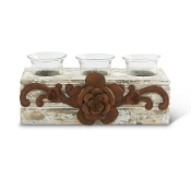 Wooden and Glass 3 Votive Holder with Metal Flower Decor, 9 Inch